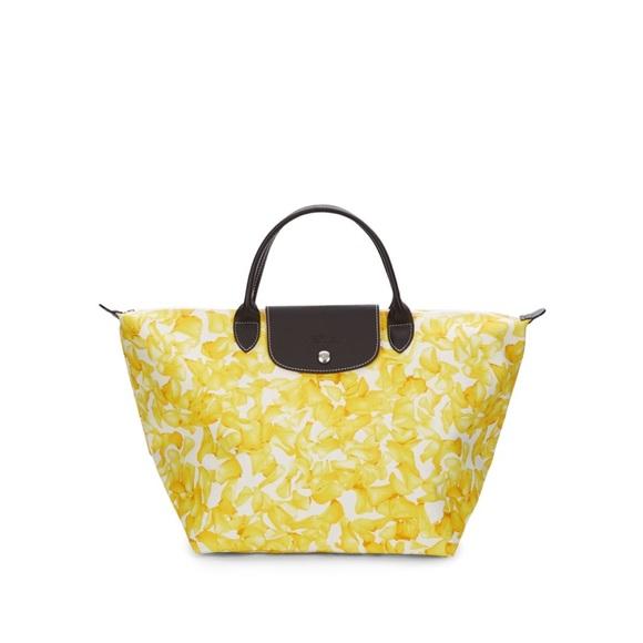 Longchamp Handbags - Longchamp Yellow Flower Print Canvas Tote a95cdb08e02e3